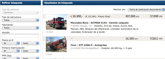 Web de AutoScout24 Trucks